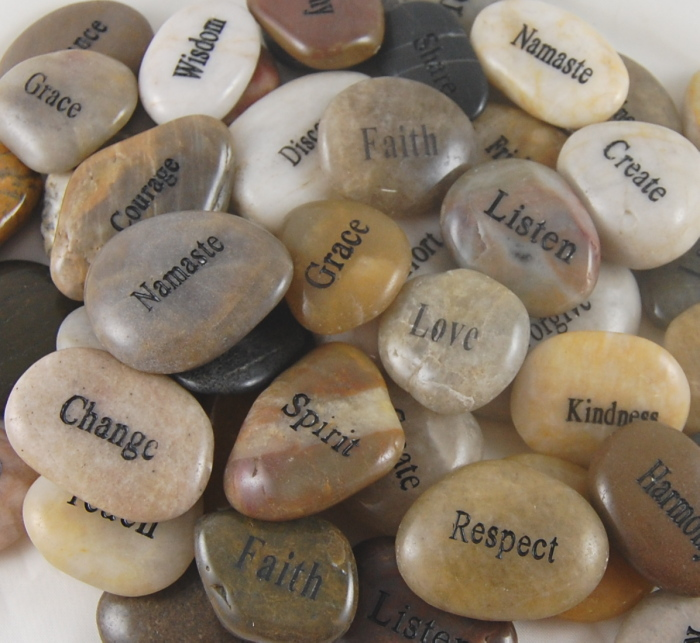 Engraved River Rock Basket - REFILL 85 Rocks