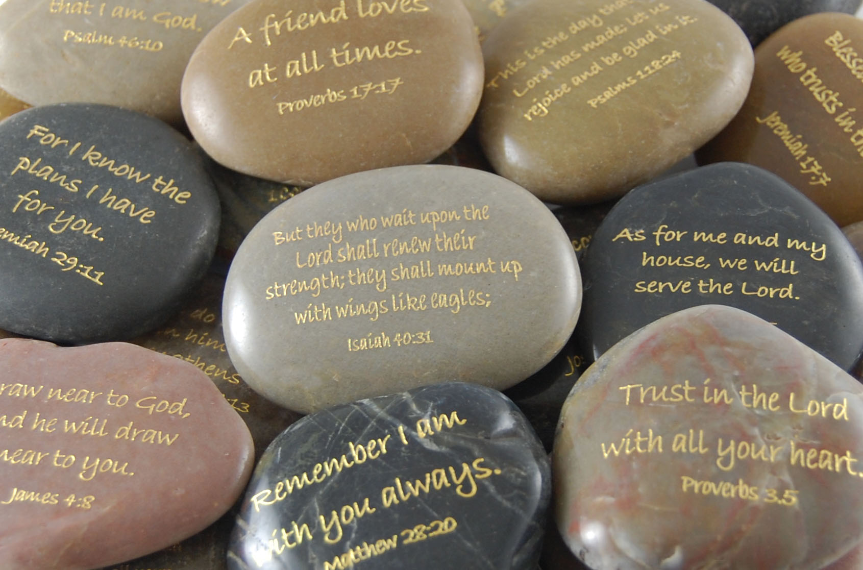 **Scripture River Rocks - ENGRAVED - SOLD INDIVIDUALLY**