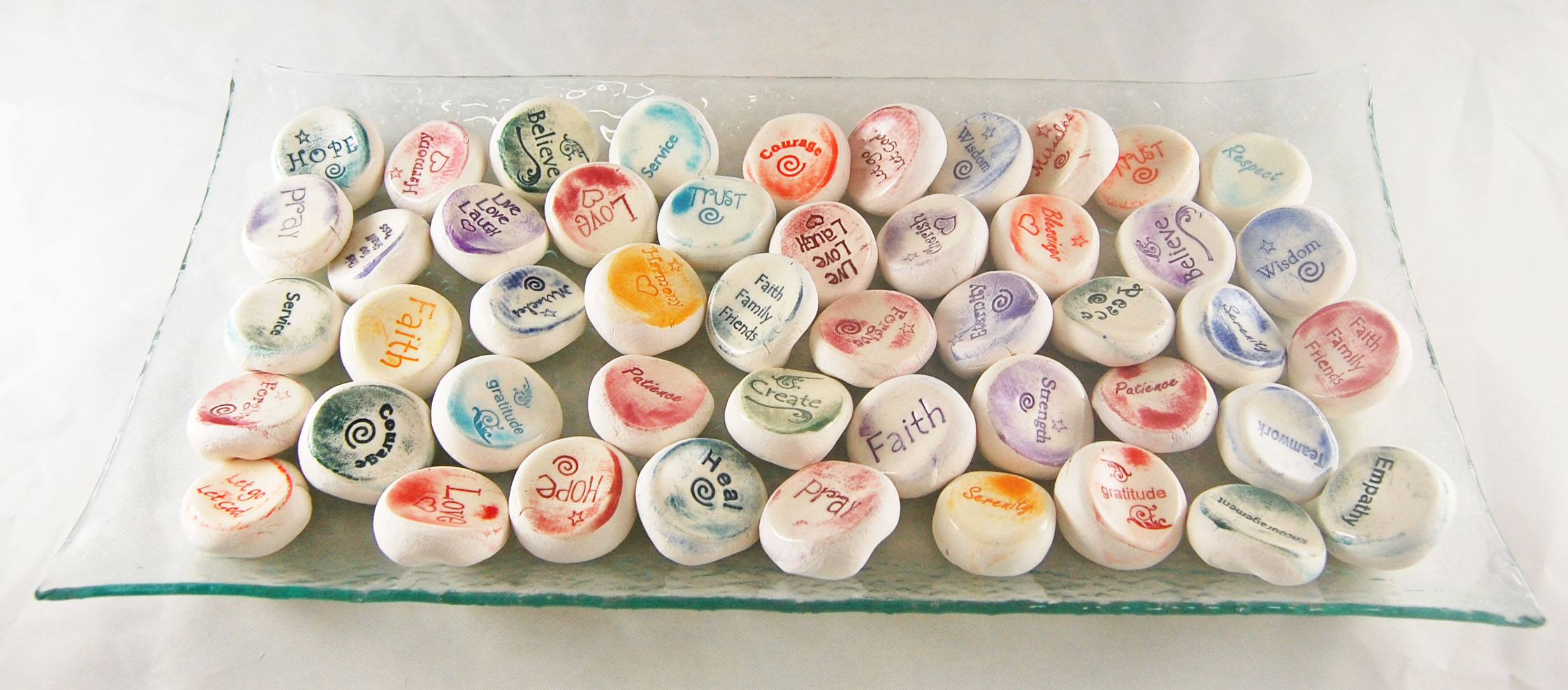 Ceramic Word Stones - Glass Tray Display - 75 Stones