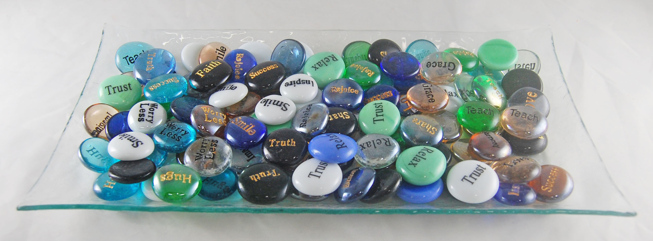 Glass Spirit Stones Engraved - Glass Tray Display - 125 Stones