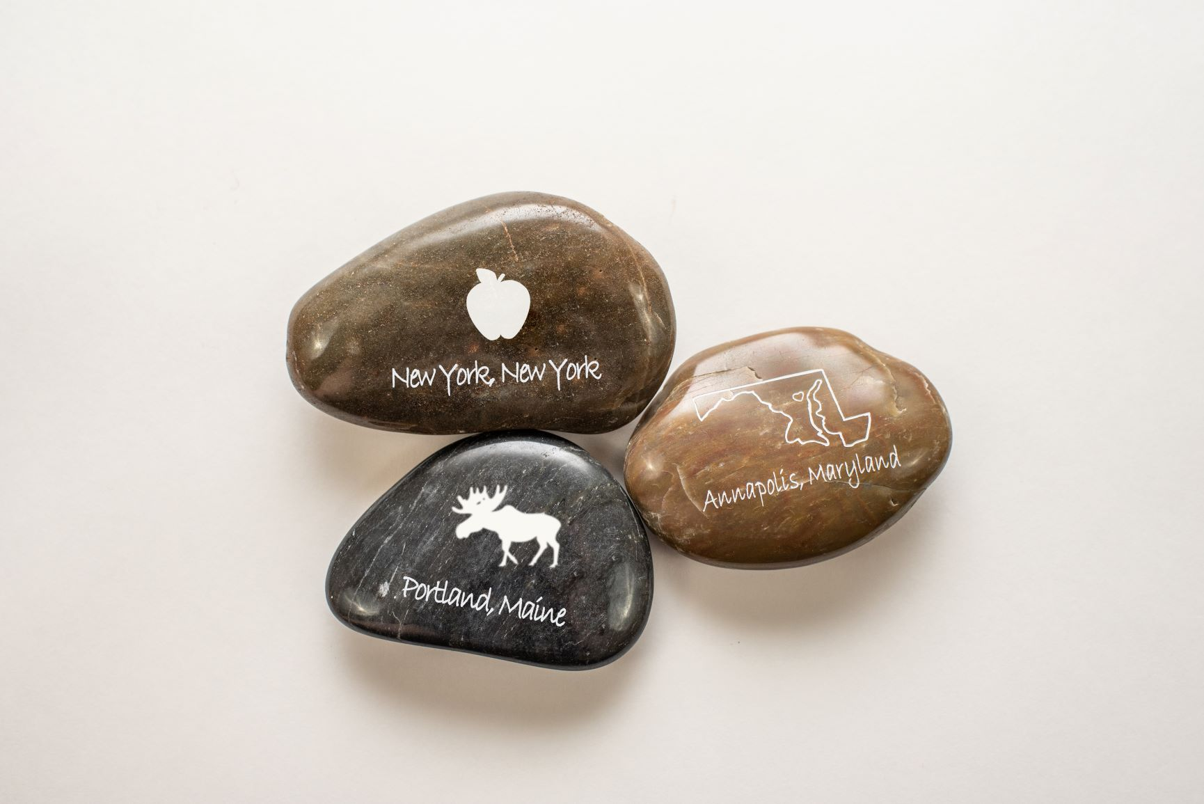 Engraved River Rocks - CUSTOM NAME DROP STONES